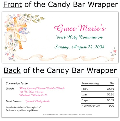 Cross and Flowers Candy WrapperCommunion Invitations