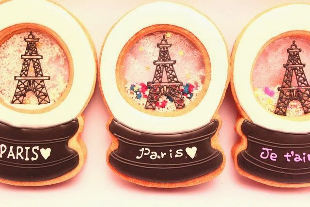 "Sweeten your day.: snow globe cookies "" PARIS """