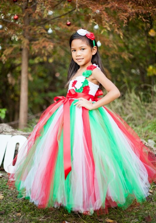 Red, Green and White Christmas Tutu Dress