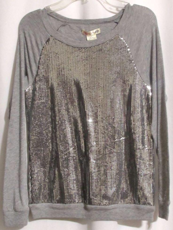 NEW Girls RAGDOLL & ROCKETS Gray Stretch Knit Silver Sequin Top 14 Orig 49…