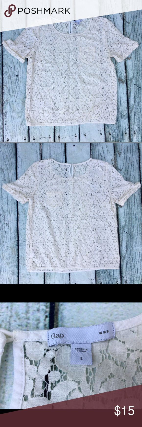 Gap cream lace short sleeve shirt Super cute Gap cream lace short folded sleeve shirt, perfect for any occasion, fancy or casual, goes great with any bottoms & shoes. GAP Tops Blouses