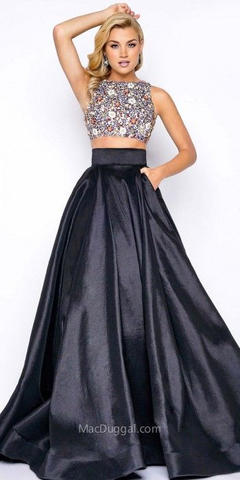 All eyes will be centered on you when you arrive to your next special event in this Multi Cut Out Two Piece Floral Beaded Prom Dress by Mac Duggal. This style includes a jewel neckline and a multi cut out open back. The bodice is embellished with a floral print eye catching beaded design. The skirt of this dress includes a wide waistband and a satin A-line silhouette with in seam pockets. #edressme