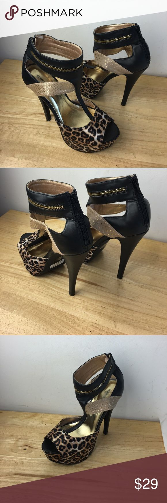 "Body Central Women's High Heels 6"" Heels Good preowned condition Animal Print Body Central Shoes Heels"