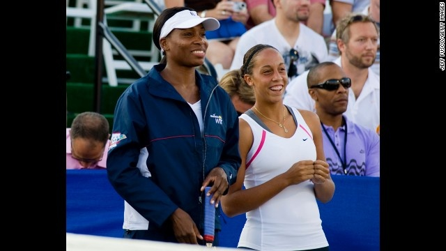 Madison Keys, right, next to Venus Williams, at age 14 became one of the youngest players to win a Women's Tennis Association tour match in 2009 when she beat Serena Williams.