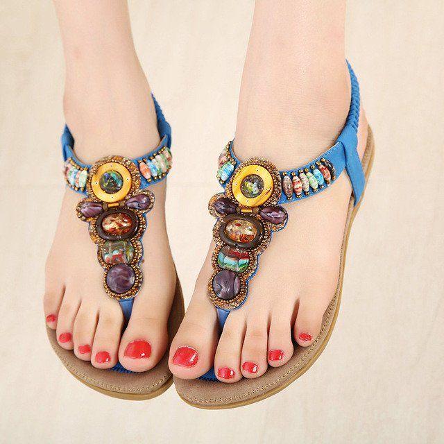 20182017 Sandals Dream Pairs TULIA Womens Fashionable Elastic T strap Gladiator Rhinestone Flat Summer Sandals Outlet Online Sale