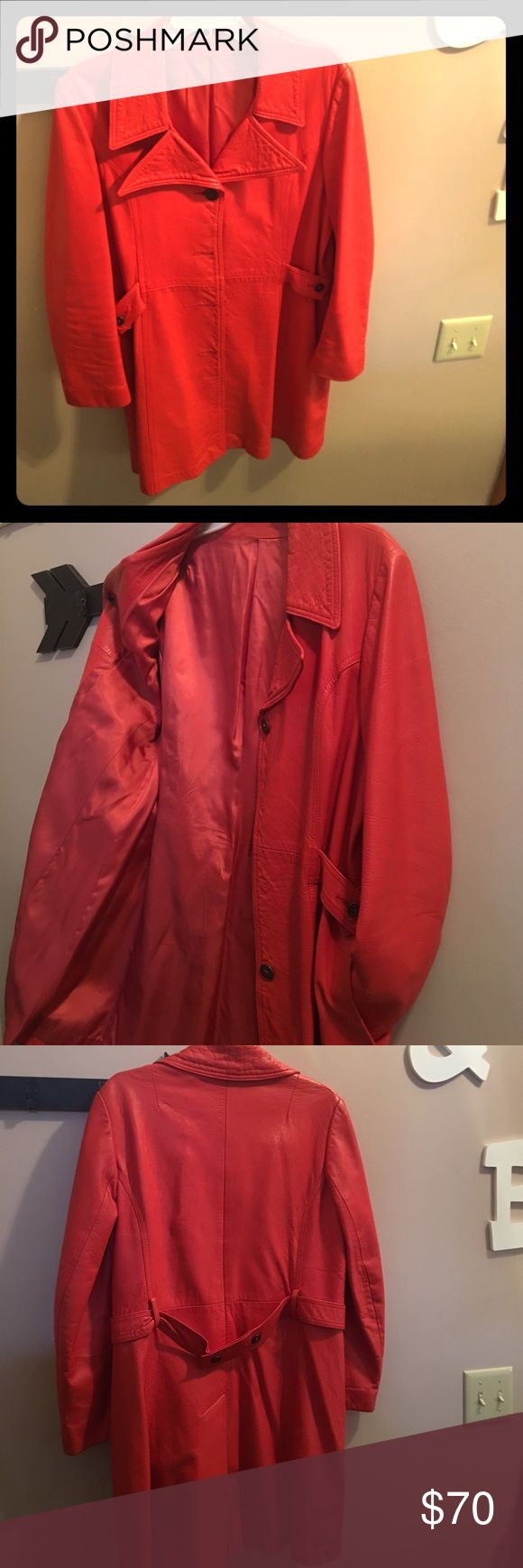 Vintage bright orange full length leather coat This is one SASSY girl!  When you wear this, heads will turn and compliments ensue.  I wore her a hand full of times with tall boots & leggings.  Pretty, matching scarf sold separately or added to bundle.  Fall is here! **missing middle button - fairly generic, easily replaceable. New England Sportswear Company Jackets & Coats Trench Coats