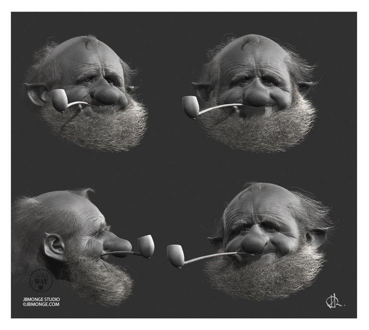 head of old goblin 2, Jean-Baptiste Monge on ArtStation at https://www.artstation.com/artwork/head-of-old-goblin-2