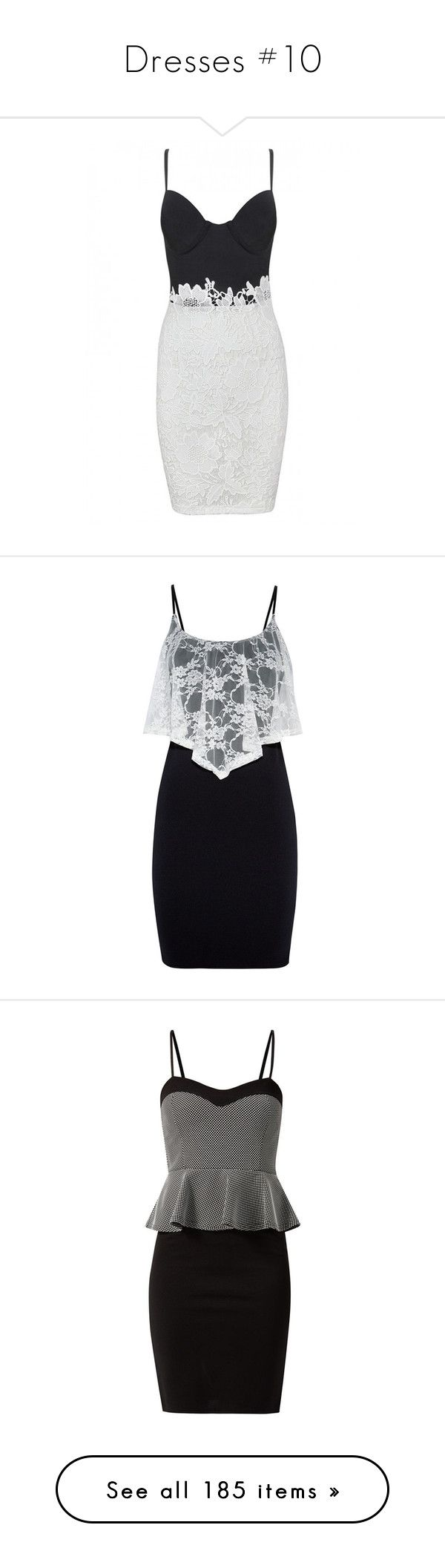 """""""Dresses #10"""" by maymchale ❤ liked on Polyvore featuring dresses, vestidos, short dresses, lace dress, white lace cocktail dress, bodycon bandage dress, white dress, white mini dress, little black lace dress and mini dress"""