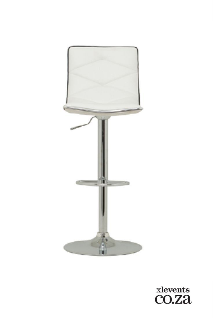 White Leather Bar Chair available for hire for your wedding, conference, party or event. Browse our selection of chairs and furniture in our online catelogue.