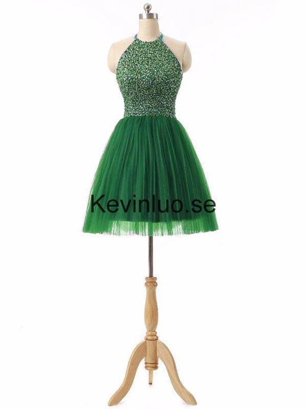 Grön Grimma A-linje Ärmlös Kort Cocktailklänningar