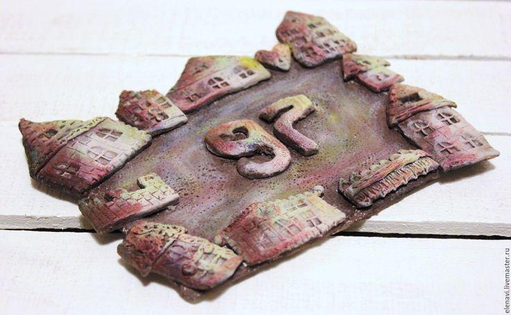 Купить Номерок на дверь коричневый - табличка на дверь, номер квартиры, подарок новоселам, декор двери