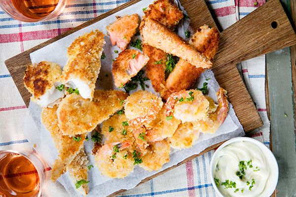 Panko crumbed seafood and dipping sauce – Recipes – Bite