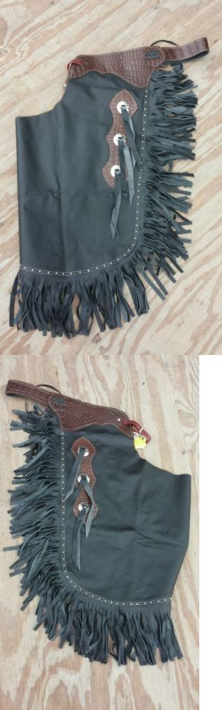Western Chaps Full Chaps 183358: L Western Chinks/Chaps Black Smooth Leather W/Medium Oil Gator Print Yoke/Concho -> BUY IT NOW ONLY: $87 on eBay!