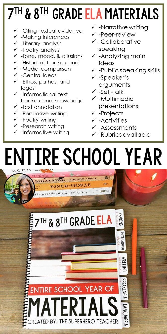 7th grade English | 8th grade English | Entire year of interactive activities and resources | Middle school ELA | Hands-on materials | The SuperHERO Teacher