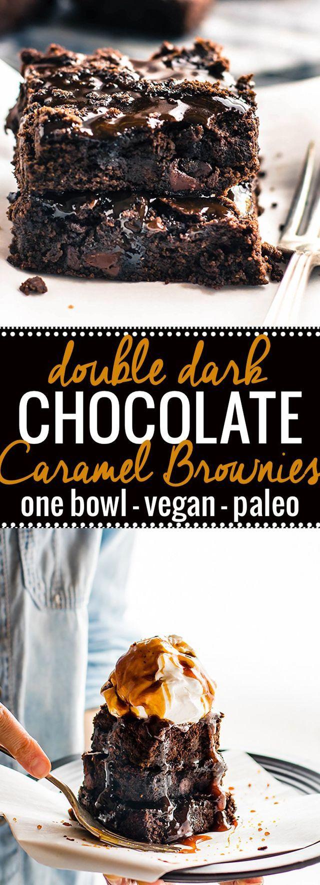 One Bowl Vegan Dark Chocolate Salted Caramel Brownies {Paleo} | Cotter Crunch | Bloglovin'