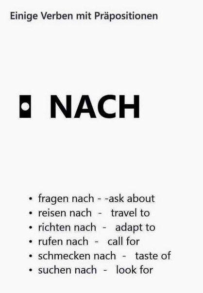 A few verbs with the preposition NACH                                                                                                                                                                                 More