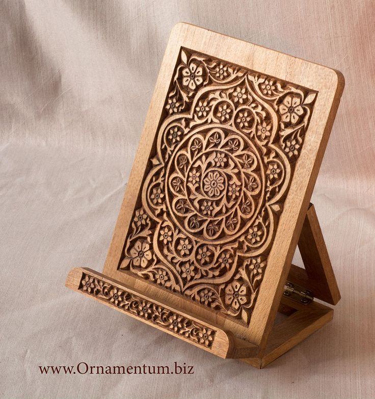 Woodcarved stand for ipad or book.     #ipadstand #bookstand #woodenstand