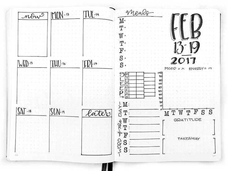 Bullet Journal Weekly Spread: February 13-19, 2017