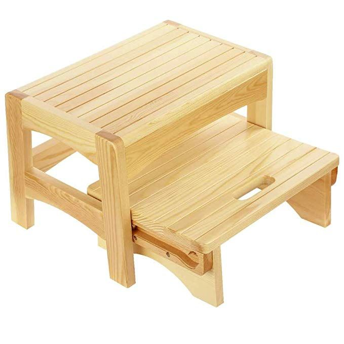 Awe Inspiring Amazon Com Welcare Handcrafted 100 Solid Wood Step Stool Machost Co Dining Chair Design Ideas Machostcouk