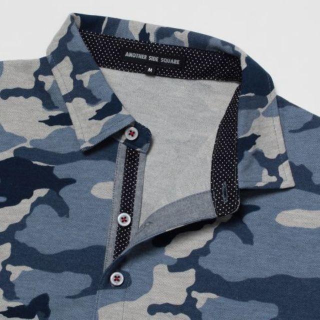 【カモフラピンドット切り替えポロシャツ】ミリタリーテイストのカモフラ柄生地を使用したスポーティーな一枚…
