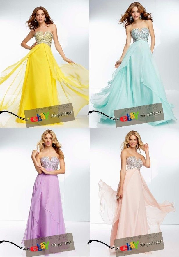 New long Chiffon Formal Prom Party Bridesmaid Evening Dresses Size 6-16