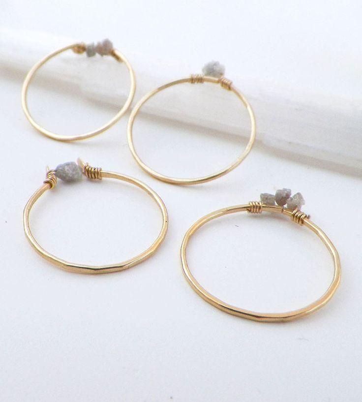Raw Diamond Gold Stacking Rings