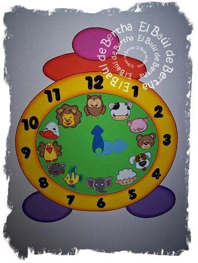 52 best foamy escolar images on pinterest letreros el aula y escolares - Manualidades relojes infantiles ...