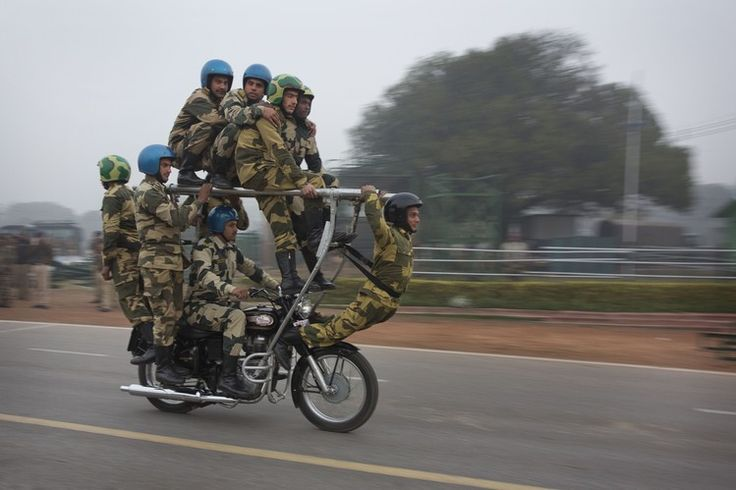India's Border Security Force motorcycle team rehearses in New Delhi.