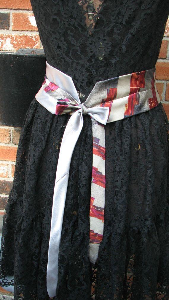 Silk Necktie Belt  Refashioned Silk Necktie Belt  by TieTandem
