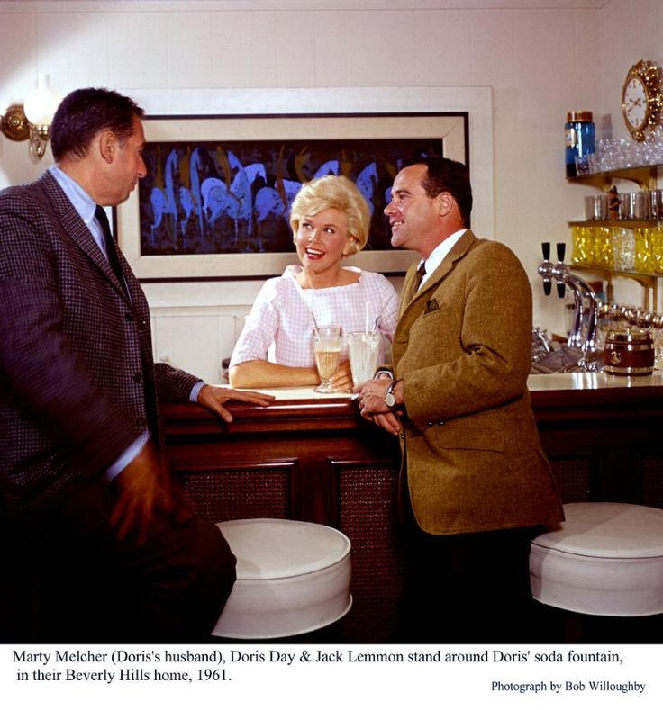 Jack Lemmon with Doris Day and her husband Marty Melchor, at the home of Doris Day in Beverly Hills, 1961.