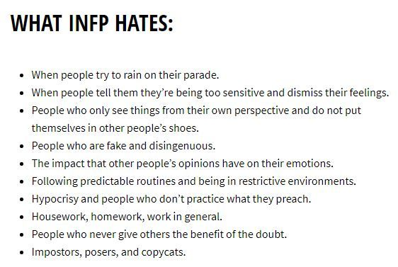 What Each MBTI Personality Hates | INFP | Infp personality type