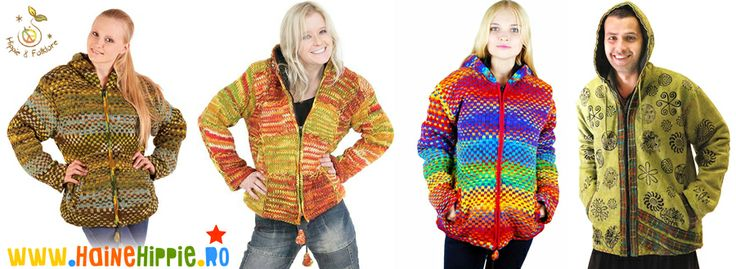 Jachete multicolore calduroase din lana si bumbac gros  ✿ http://www.hainehippie.ro/55-noutati ✿ ✿ Transport GRATIS la 2 hainute comandate ✿ ✿ Livrare in tara in 24h ✿ ✿ http://www.facebook.com/hainehippie ✿