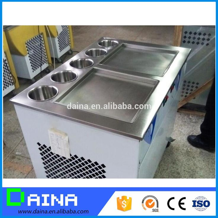 High quality Double Pan Thailand Roll Fried Ice Cream Machine / Ice Cream Cold Plate#ice