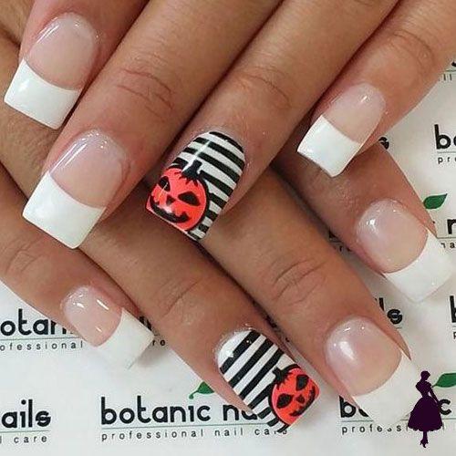 Diseños de uñas para halloween blanco y negro