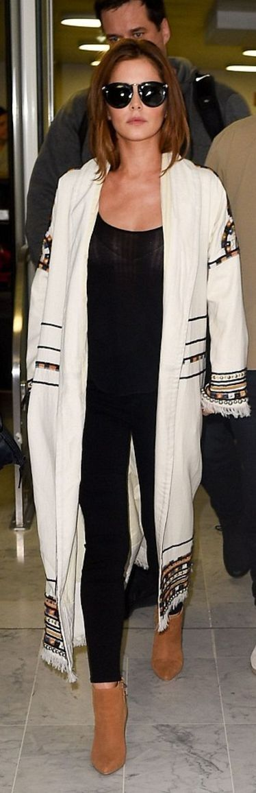 Who made  Cheryl Cole's white print coat? - Celebrity Street Style