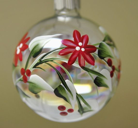 Christmas Ornament:  Red Flowers and Holly Berries  https://www.etsy.com/shop/BrushstrokesByBeth