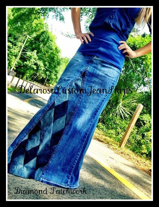 Long Jean Skirt Custom Your Size Diamond Patchwork size 0 2 4 6 8 10 12 14 16 18