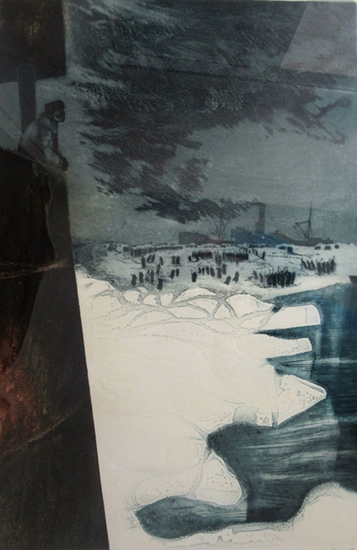 David Blackwood, S.S. Imogene with Crew on Ice, etching, 1967, Artist Proof to edition of 25, 32 X 21 inches.