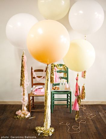 Outrageous Party Ideas: Be Fancy!  These extra large balloons and streamers from Geronimo Balloons will be the hit of the party!