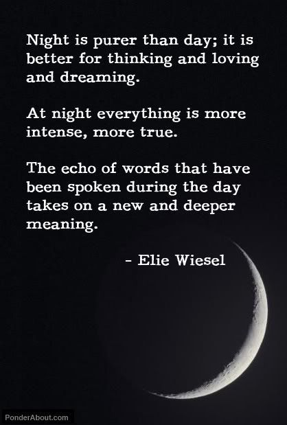 Elie Wiesel night quote.  Hmmmm...not sure if this is true...in some cultures they say to never send letters you've written at night.  My thoughts seem to be overly active and intensified at night....