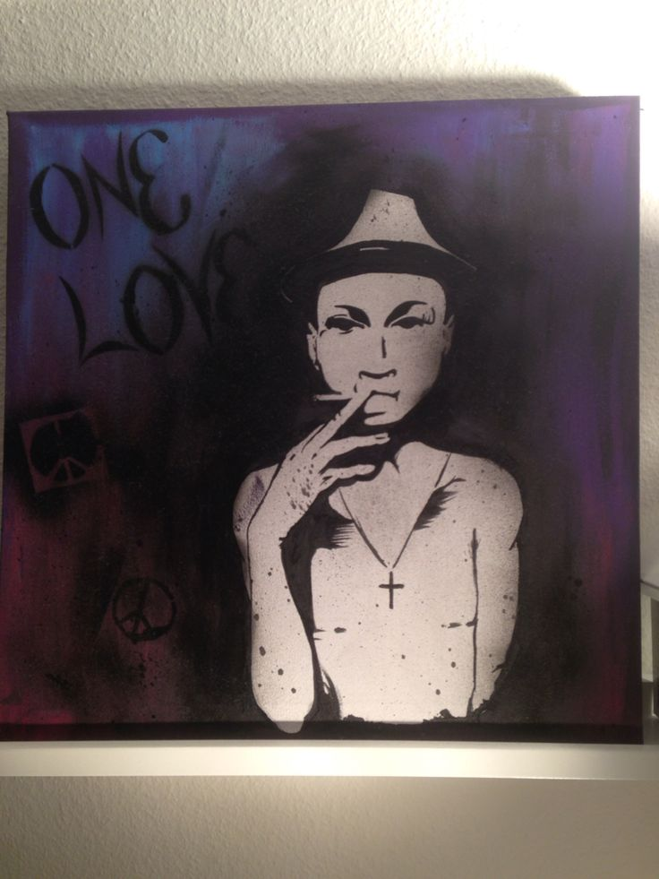 Acrylic and spraypaint painting