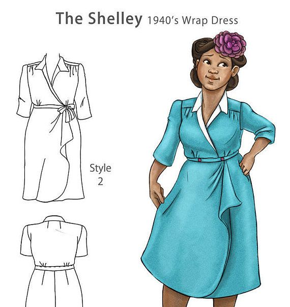 PRE-Order The Shelley 1940s wrap dress NVL plus by NewVintageLady