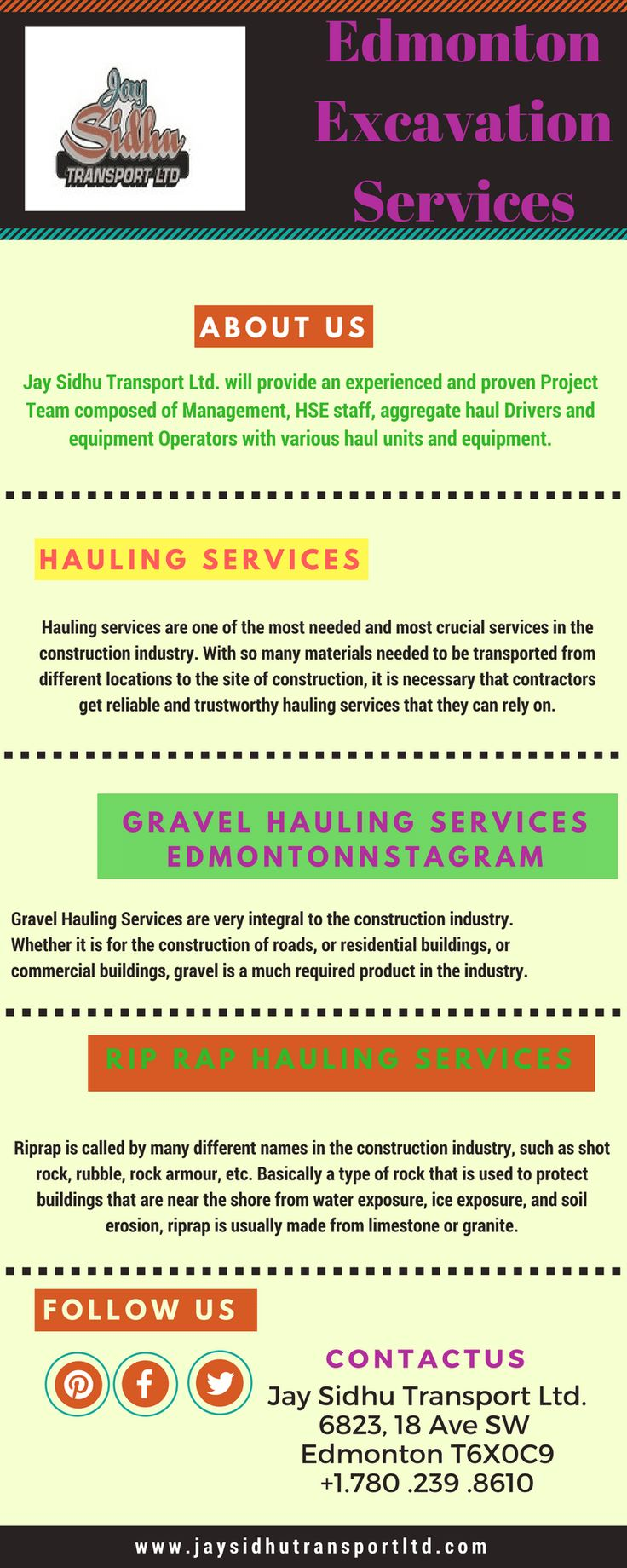 Edmonton Excavation Services Provider:  Jay Sidhu Transport is the leading organization for providing Excavation services to the construction industry in Edmonton. Contact us today Excavation Services we have best and experienced team.
