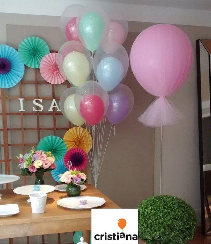 Baloes Cristal E Baloes Com Tule Em 2020 Decoracao Festa