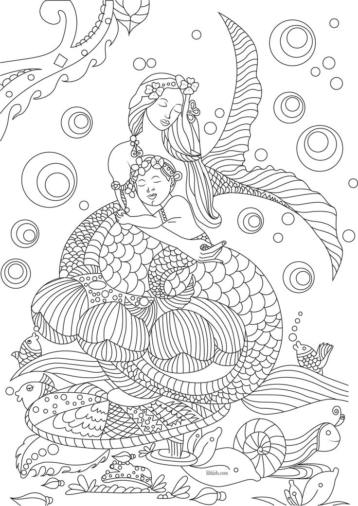 Free beautiful mermaid adult coloring book image from LiltKids.com!