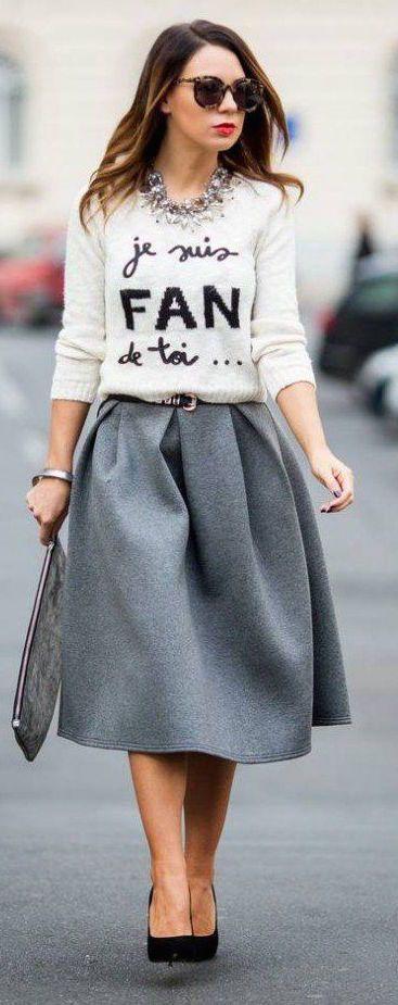 #fall #fashion / white knit + gray skirt