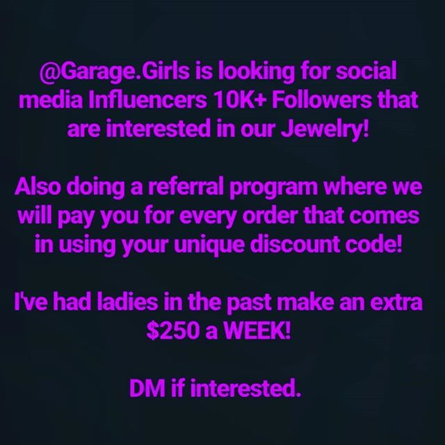 Garage Girls Is Looking For Social Media Influencers 10k