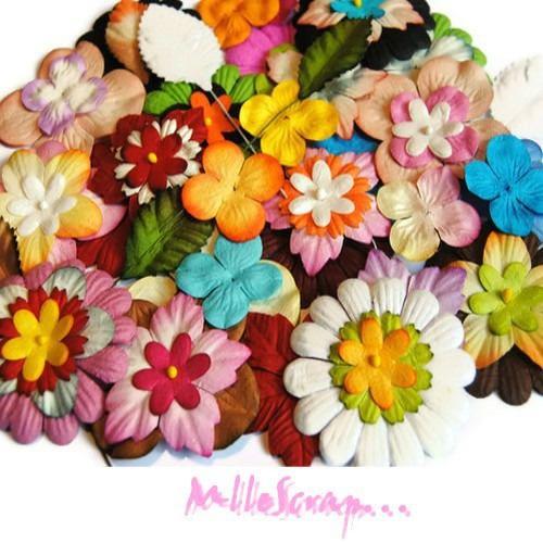 GROS LOT de 75 fleurs en papier embellissement scrapbooking .* de la boutique MademoiselleScrap sur Etsy