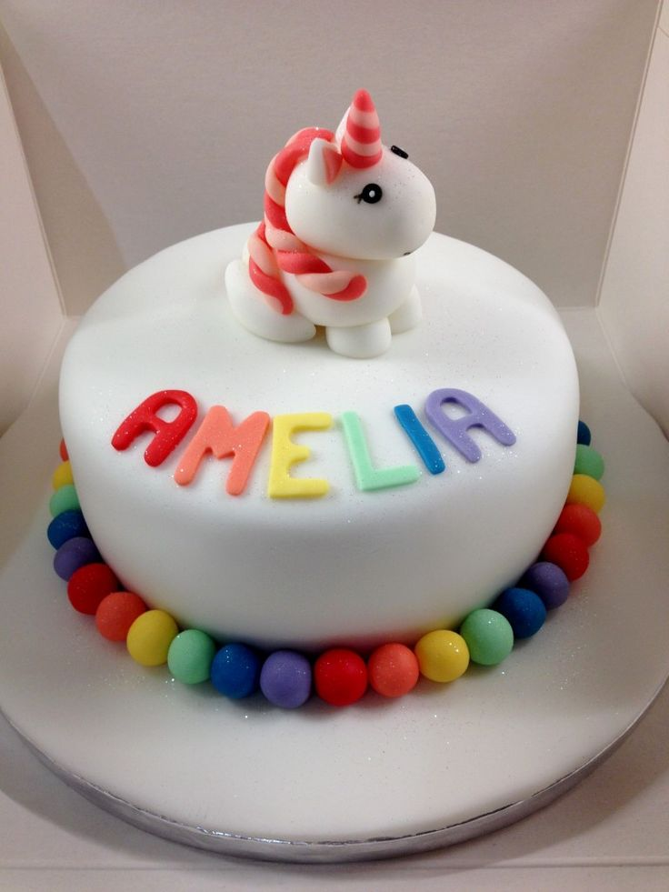 Unicorn birthday cake. Cute fondant / sugar paste unicorn. Fondant rainbow ball decoration.