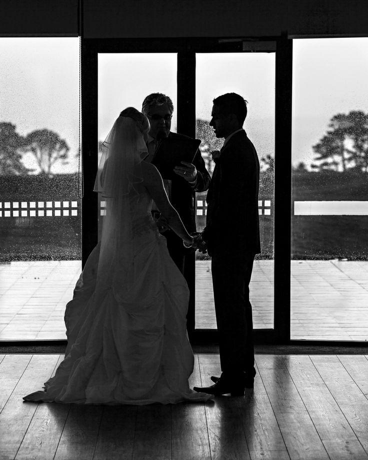 Indoor wedding ceremony on a rainy day. #RainyWedding